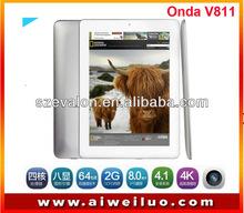 Onda Tablet Onda v811 8 inch 1024x768 ips screen Android 4.1 Allwinner A31 quad core 2GB RAM 16GB HDMI