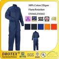 En11611/en11612 aceite campo/boilersuit 100% bata de algodón retardante de llama de ropa de trabajo