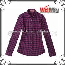 ladies casual blouses plaid purple