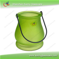spray color ribbed glass candle holder