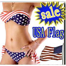 Women Sexy bikini STARS STRIPES USA Flag PADDED TWISTED BANDEAU top swimwear
