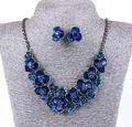 Océano azul de EPOXY del METAL RHINESTONE de la flor de declaración de aretes y collar SET para la novia