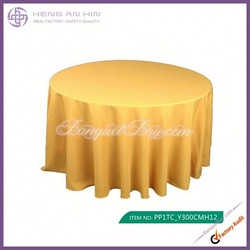 wholesale golden polyester visa round tablecloths for wedding manufacturer