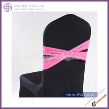 wholesale black shiny nylon lycra chair covers decoration with two pcs spandex sashes manufacturer