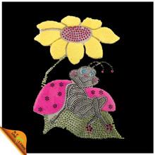 Sun Flower Rhinestone Diamante And Pink Glitter Transfer Iron On Hotfix Motif