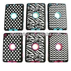 Dot Design Shockproof case for ipad mini, zebra hybrid case cover for ipad mini 2