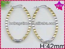 2014 Powell wholesale colorful enamel Lady girl favorite stainless steelbasket ball wives hoop earrings