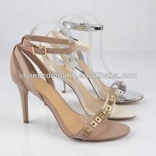 Elegantly steel toe rhinestone up ladies party wear shoes sandals