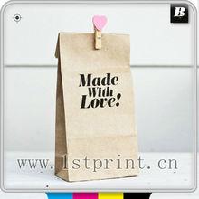 flat bottom kraft paper bag printing service with handle