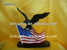 Decorative Polyresin eagle statue with American flag for sale