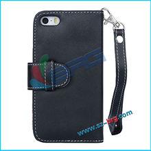 BRG- High quality Black PU leather belt clip flip case for iphone 5