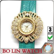 hot star watches, ladies/jewelry diamonds/brass case/japan movement/genuine leather strap/IPG/3 atm/quartz
