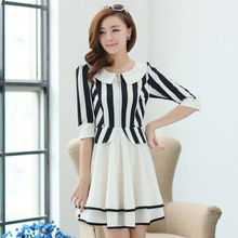 C81020A Korean Women temperament Slim fifth sleeve princess dress