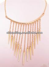Punk exaggerated sharp spike chain bar bib necklace