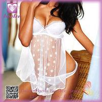 Natural Top Sexy Hot Babydoll Sleepwear Lingerie White Silk