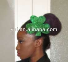 ST PATRICKS DAY GREEN GLITTER BURLESQUE SHAMROCK LEAF CLOVER HAT FASCINATOR HEADPIECE HAIR CLIP