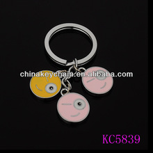 Made in China alibaba express hot sale productions round printed metal keychain