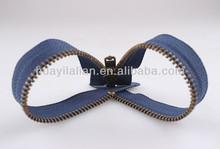 Moda metal 3# nikel preto aberto- fim zipper com controle deslizante para a jaqueta de couro