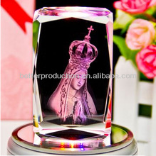 clear crystal 3D Lady of Fatima laser for travel souvenir