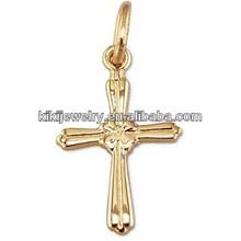 Stylish design cross and flower design headstone gold jewelry charm