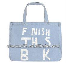 promotional long strap shoulder tote bags wholesale plain print denim foldable shopping bag