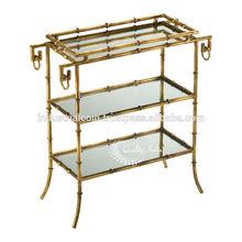 Metallic Three Glass Shelves Serving Table