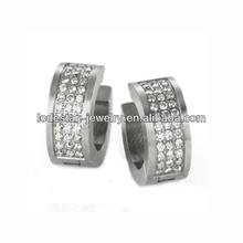 2014 316L stainless steel stud cubic zirconia earrings matt surface zircon setting jewelry earrings (LE2128)
