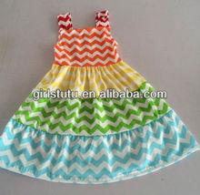 Fashion Girls Chevron Dress Baby Girls Kids Cotton Beach Dress Children Clothing Summer New Boutique Dress