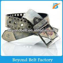 Men's Fashion Print Leather Grommets Belt