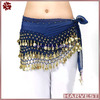 Dark Blue Egypt Belly Dance Hip Scarf with Gold Coin