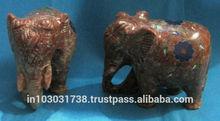 Soapstone Elephant Sculpture, Elephant Statue, Stone carved Undercut Elephant