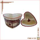 Heart Shaped Ceramic Dish with Customized Printing Finishing
