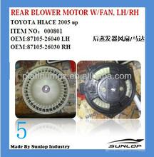Toyota hiace auto parts #000801 REAR BLOWER MOTOR WITH FAN OEM (87105-26030 87105-26040) HIACE 2005 UP