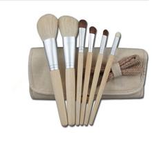 6pcs Goat Hair Brushes Set natural hair make up brush set Original Wood Color