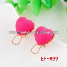 fashion summer pink heart no hole earring