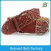 Casual Brown Leather Braided Belt for Women in Stock