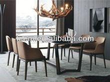 2014 new design dining room furniture set glass dining table pedestal base E-31