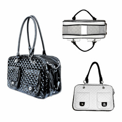 Small Dogs Quilted Patent Leather Bag Pet Travel Carrier