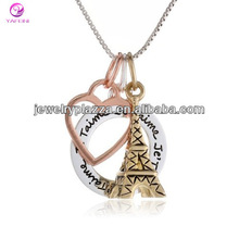 Tri-Color Sterling Silver Yellow and Rose Gold Flashed Eiffel Tower and Open Heart Charm Necklace