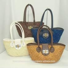 2014 wholesale cute girls beach bag straw corned husk beach bags with PVC handle