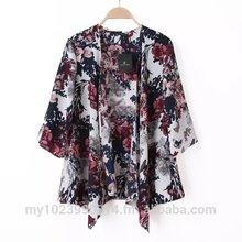 Floral Motif Printed Kimono Jacket