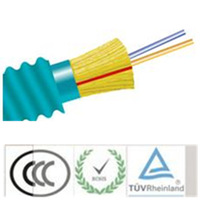 Fiber Optic Cable, 2 Strand, Multimode, 50/125 10 Gig OM3, Armored Indoor Distribution, Plenum
