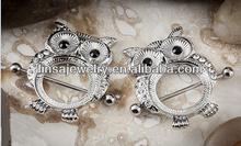 316L Stainless Steel Piercing Body Jewelry Nipple Rings Gemmed Owl Nipple Shield