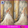 Gorgeous Crystal Ruffle Organza with Long Train Ball Gown Wedding Dress with Sweetheart Neckline