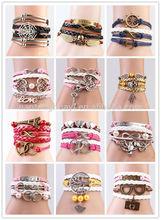 Fashion Wholesale Friendship Love PU Leather Charm Infinity Bracelet Braid Leather Chain
