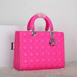 Beautiful hot pink high class handbags fashion brand bags genuine leather