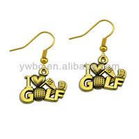 Hot design sport heart shaped with i love golf earrings (E104885)