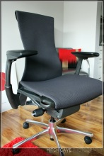 Embody Chair by Herman Miller Fully Adjustable Arms Black Balance Fabric on Graphite Frame and Base