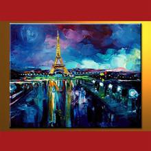 Handmade Wholesale Eiffel Tower Scroll Canvas Painting