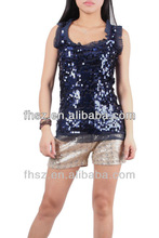 New arrival ladies' tank top with sequin ladies new style casual tops clothing moroccan caftan